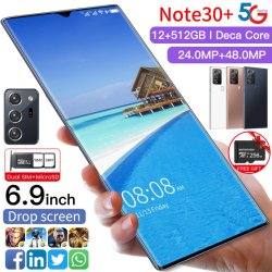 2021 نوت30+ 6.9 بوصة 3840×2160 Mtk6799 الهواتف الذكية Android10.0 سعة 12 جيجابايت و512 جيجابايت 5غ الهواتف الخلوية 5600 مللي أمبير ساعة هاتف محمول كبير السعة