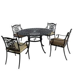 Ensemble Bistro Jardin extérieur, (5 pièce) Table et chaise Définir Ensemble de meubles de patio en aluminium moulé