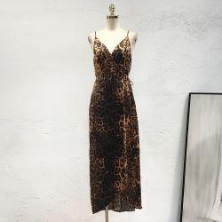 Sade V-Pescoço Leopard vestido MIDI