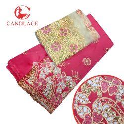 Tela de seda india moldeada de George con el cordón de Tulle para la boda