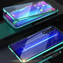 Высокое качество 360 полной защиты крышки двухсторонней закаленное стекло передней + черный металл магнитный чехол для мобильного телефона Huawei честь20