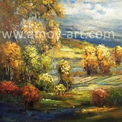 Emoldurado paisagem florestal pintura a óleo para a decoração da casa