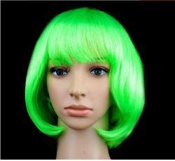 Mulheres Peruca sintética curta Parte Contratante as decorações metálica peruca