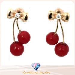 최신 판매 형식 보석 2015의 새로운 형식 사랑스러운 빨간 버찌 귀걸이 모조 다이아몬드 잎 구슬 장식 못 귀걸이 E6335