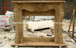 Antique pedra travertino lado Carving lareira de mármore (SY-MF377)