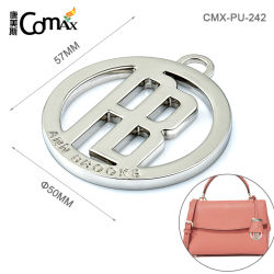 Forme ronde personnalisé sac pendaison Tag, de conception en alliage de zinc logo en métal creux Charms de sacs à main