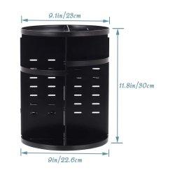 29710A 360 Drehbare Make-up Aufbewahrungsbox für große DIY einstellbar Schminkkarussell (schwarz)