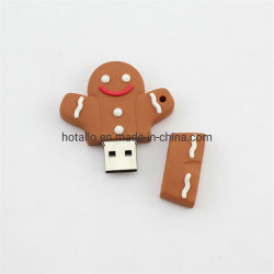 Arbre de Noël de l'homme d'épice Poignée de commande du shell de disque USB en plastique souple PVC de cadeau de Noël Creative lecteur USB de modélisation de la conception personnalisée