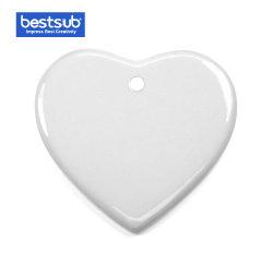 Central Bestsub furados ornamento de cerâmica de sublimação do coração de natal (H001)
