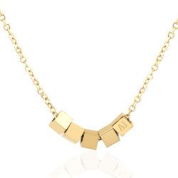 La mujer la moda de joyería personalizada la plaza de oro Collar de Cadena Colgante