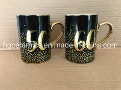 Festival Mug, 10oz Metallic Gold Mug avec l'or de l'impression, d'or de l'autocollant d'estampage à chaud de l'impression Metallic Gold tasse tasse en céramique, Electroplate