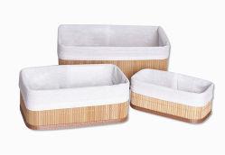 Multa de Almacenamiento extraíble con cestas de bambú el bambú Bin Three-Piece camisas