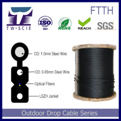 Núcleo 1 LSZH drop cable con cable de acero de Messenger-G.