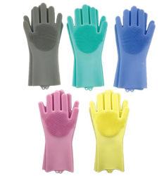 魔法のSaksakの耐熱性シリコーンのクリーニングブラシのスクラバーの手袋