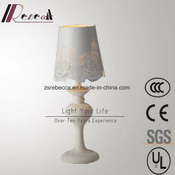 Blanc de style européen fleur rose en acier inoxydable de l'ombre de la lampe de table