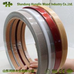 Hochglänzende einfarbige PVC-Kantenanreibeung mit Holzmaserung