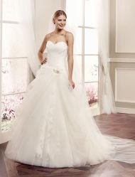 Vestido de novia sin tirantes de tul embroidary con vestido de novia de la correa de satén