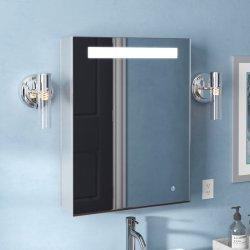 Banho de alumínio sem caixilho, armário de remédios com única porta espelho LED Organizador de armazenamento de cozinha interiores de luxo