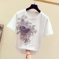 2020명 여름 면 짧 소매 꽃 덧나막신 형식 여자 셔츠