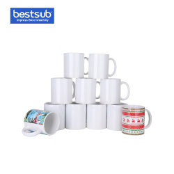 ホールセール Bestsub 11 Oz White Photo Ceramic Coffee Mug Sublimation プレスマグ 330ml を加熱します