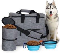 De Zak van de Reis van de hond met 2 Opvouwbare Kommen van het Silicone en 2 Containers van het Voedsel, Multifunctionele Zakken voor de Toebehoren van het Huisdier