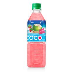Frasco Pet 500ml de água de coco com Morango