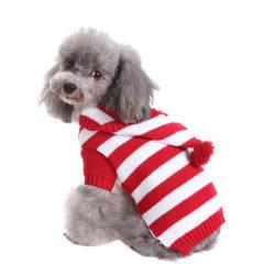 레드 및 화이트 격자무늬 애완견 스웨터