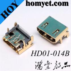 SMT 19pin hembra conector HDMI para PC/portátil/STB/TV/HDTV/DV/media/memoria extraíble
