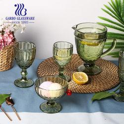 기계제작 공장 빈티지 로얄(Royal) 재고 올리브 그린 단색 유리 와인 잔을 넣은 와인 잔 아이스크림 용기(새겨진 용기) 패턴