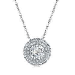 الذهب الوردي مخصص الطبيعية الماس عقد من الحجر الكبير عقد