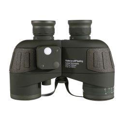 Nuevo telescopio de 10X50 Brújula de navegación de visión nocturna de la luz de baja del ejército de portátil HD de alta potencia prismáticos