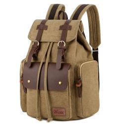Zaino esterno casuale della tela di canapa dei sacchetti di banco del computer portatile di corsa dell'annata del sacchetto di spalla grande per le donne degli uomini