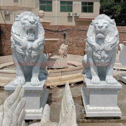 Custom большой сад, открытый камня животных белые мраморные статуи Льва искусства скульптура производителя