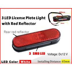 Kentekenplaatverlichting motorfiets met rode reflector 3 LED's met E-MARKERING