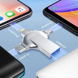32GB/64GB/128GB USBのフラッシュ駆動機構USBの親指駆動機構4in1のフラッシュ・メモリのiPhoneのiPadのMacBook USB Cのアンドロイドおよびパソコンのための人間の特徴をもつ写真の棒USB 3.0の外部ペン駆動機構