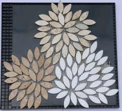Design especial Art Crystal mármore branco com amarelo Travertino mosaico de pedra para a decoração de paredes