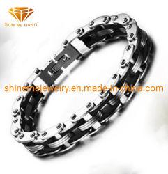 Jóias de aço inoxidável bracelete de silicone preta em aço inoxidável Aluguer Bracelete Corrente Colar homens Bl2920
