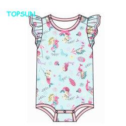 Algodón orgánico personalizado camiseta sin mangas de ropa infantil Rompers impreso completo de ropa de bebé 0-3 meses