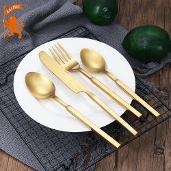[ستينلسّ ستيل] عمليّة صقل رف صفّى نوع ذهب زاويّة مقبض عشاء سكينة مجموعة