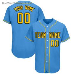새로운 바느질된 뜨개질을 한 야구 t-셔츠 착용은 자수에 의하여 하신다