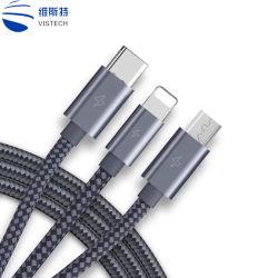 3 en 1 Multi-Head nylon tressé USB Câble de chargeur de téléphone mobile pour micro USB de type C