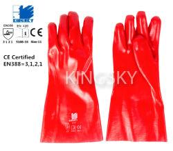 Handschoen van het Werk van de Veiligheid van de Weerstand van pvc de Industriële Chemische met Ce- Certificaat