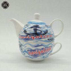 Tazze all'ingrosso promozionali blu di vendita superiori e tazze e piattini di tè su ordinazione di marchio del POT di ceramica
