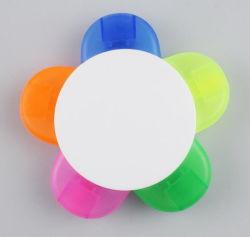 Commerce de gros plastique promotionnels personnalisés 5 en 1 Surligneur multicolores/ Fleur surligneur