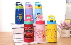 Los niños sin BPA Vaso termo de paja, vacío aislado de doble pared de acero inoxidable con empuñadura de la botella de agua