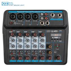 Mini USB de áudio de 6 canais de karaoke DJ Misturador de música Som com Bluetooth e placa de som