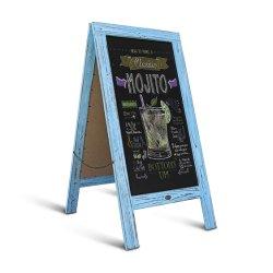 Rustico Robin Blue A-Frame Chalkboard/Marciapiede Chalkboard Sign/Large Sturdy Sandwich Board/A Frame Restaurant Message Board/Freestanding Menu Display Chalkboard