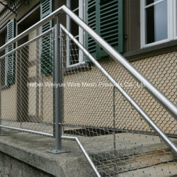 Edelstahl-schützendes Drahtseil-Filetarbeits-Geländer/Treppenhaus-/Balustrade-Ineinander greifen