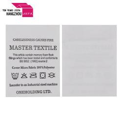 Acetinado de algodão branco personalizado Non-Woven Cuidados lavável Etiqueta de impressão de etiquetas