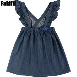 La bretella del denim del blu marino della ragazza da 2021 estate veste i vestiti del partito dei bambini